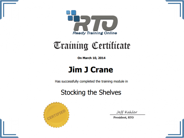 Printable Training Certification